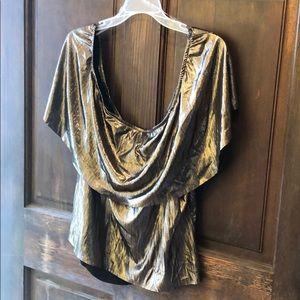 Gorgeous shimmery gold&black off shoulder top